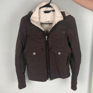 MOUNTAIN HARDWEAR brown lightweight shearling collar jacket us size XS